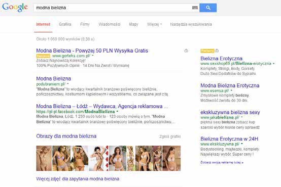 """Zrzut ekranu wyników wyszukiwania Google na zapytanie """"modna bielizna""""; źródło: Google"""